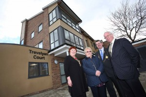 Lady Mayoress Sharon Pattison, Betty Cox, Lord Mayor George Pattison and Chair of Leazes Homes Bill Midgley