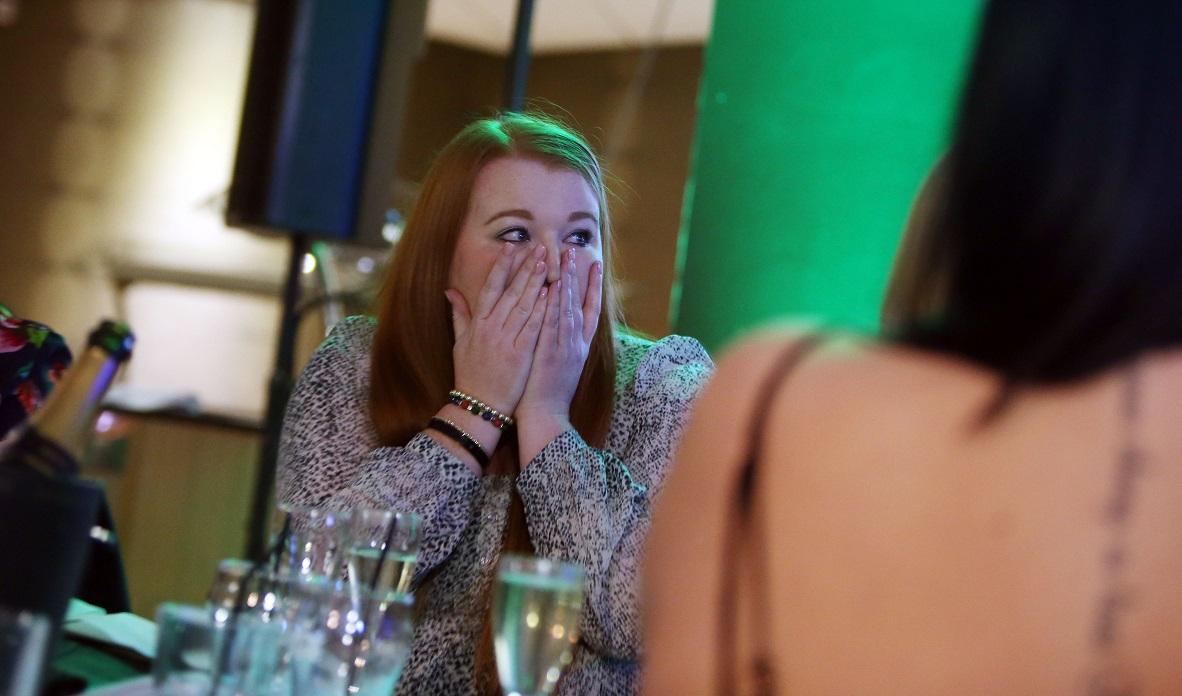 Charlotte reacts to winning her award