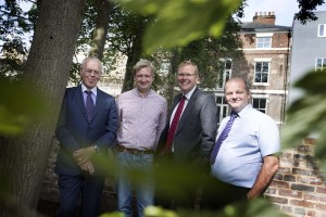 Chair of Leazes Homes, Bill Midgley, Manager of the Friends of Summerhill, Hugh Stolliday, Leader of Newcastle City Council, Cllr Nick Forbes and Esh Property Services Contract Manager, Chris Parker pictured in the new orchard,