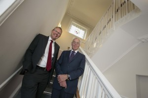 Leader of Newcastle City Council, Cllr Nick Forbes and Chair of Leazes Homes, Bill Midgley inside one of the properties