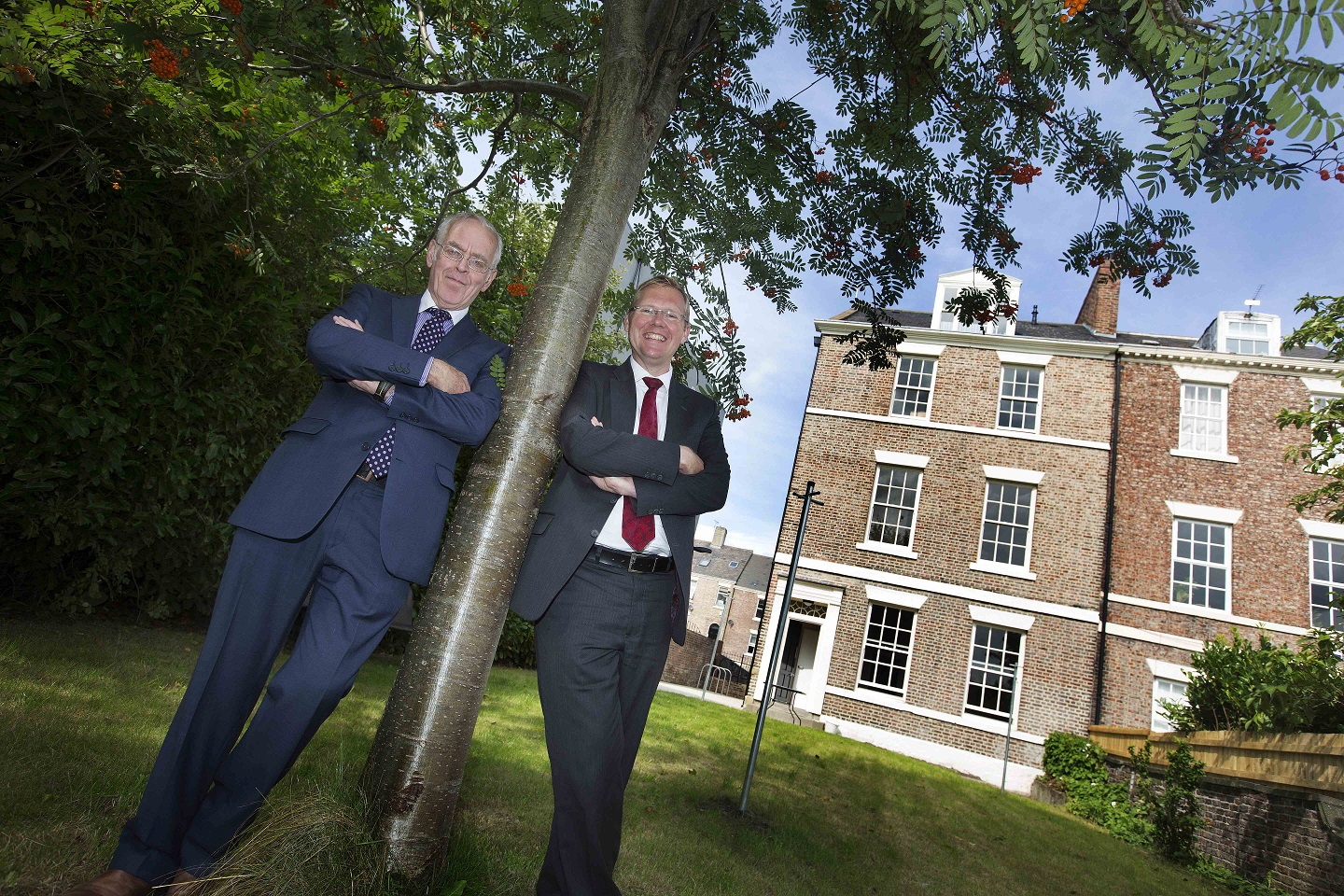 Chair of Leazes Homes, Bill Midgley and Leader of Newcastle City Council, Cllr Nick Forbes, outside Summerhill apartments