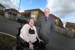 Claire Rabbetts with Bill Midgley outside of Leazes Homes' Station Court